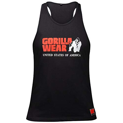 GORILLA WEAR - Herren Gym Shirt - Classic Stringer Tank Top - S bis 3XL Bodybuilding Fitness Muskelshirt Schwarz XL