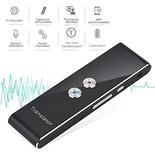 Mavis Laven Übersetzungsgerät Smart Voice Translator, Elektronische Zwei-Wege-Pocket-Voice Bluetooth 40 Sprachen Sprach- / Text- / Aufnahme- / Foto-Übersetzung zum Lernen von Geschäftsreisen