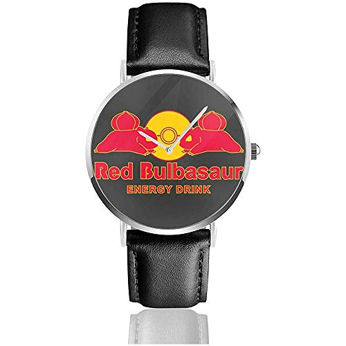 Unisex Business Casual Monster Red Bulbasaur Energy Drink Relojes Reloj de Cuero de Cuarzo
