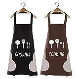 Aishow 2 Pezzi Grembiule Cucina Donna & Uomo,Grembiule da Cucina Professionale Impermeabile e Antiolio,Regolabile Grembiuli con Tasche (Nero/Marrone)