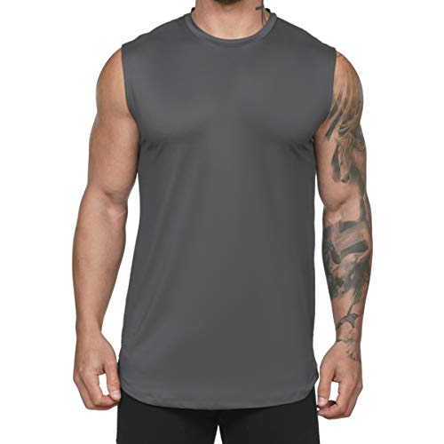 Magiftbox Mens Lightweight Quick-Dry Gym Tank Tops Sleeveless Workout Shirts Muscle Tee T28_Darkgrey_US-M