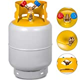 Bestauto Recovery Tank Gray and Yellow 30lb Refrigerant Recovery Reclaim 30lb Cylinder Tank 400 PSI R410A Rated