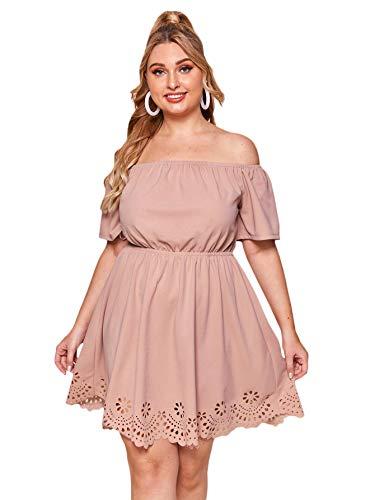 Romwe Women's Plus Size Off The Shoulder Hollowed Out Scallop Hem Party Short Dresses Dusty Pink 2X