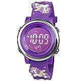 BIGMEDA Reloj Digital para Niños Niña, Luz Intermitente LED de 7 Colores Reloj de Pulsera Niña Multifunción, para Niños de 3 a 12 años (VioletaUnicornio)