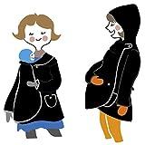 manduca by MaM Tragejacke/Tragemantel  All-in-One MotherHood Coat  Schwangerschafts- und Umstandsjacke mit Kapuze (Polarfleece), Onesize, Knopfverschlüsse (Naturknöpfe), schwarz & graue Paspeln