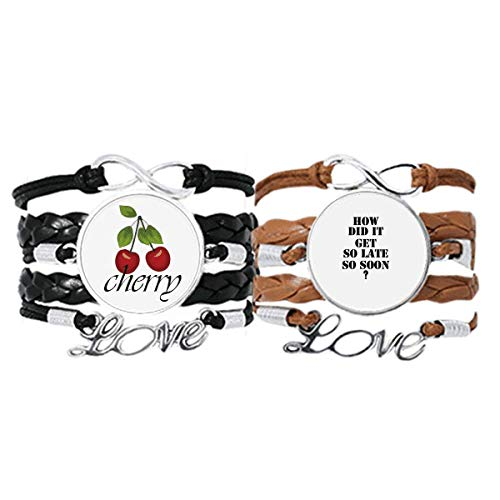 Bestchong How Did It Get So Late So Soon - Pulsera de cuero con cita 'How Did It Get So Late So Soon', juego doble