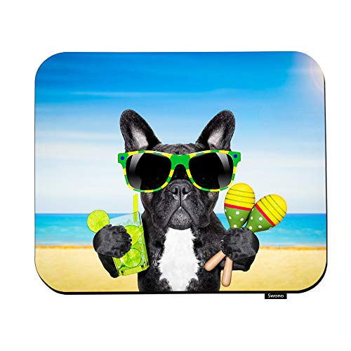Swono Cool Dog Mouse Pads Brazil French Bulldog Dog for Sunglasses Enjoying A Cocktail at The Beach Mouse Pad for Laptop Funny Non-Slip Gaming Mouse Pad for Office Home Travel Mouse Mat 7.9'X9.5'