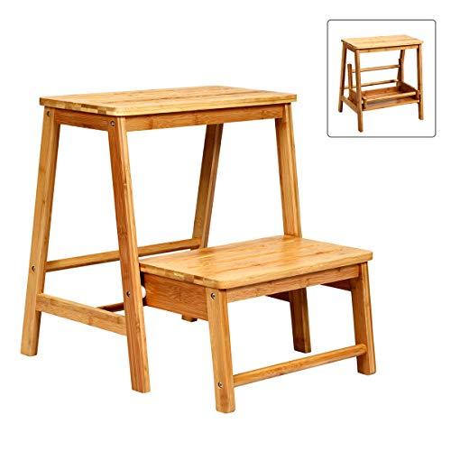 COSTWAY 2-Stufen Tritthocker, Leiterstuhl klappbar, Trittstuhl aus Bambus, Trittleiter bis 100kg belastbar, Haushaltsleiter natur, Hockerleiter für Bibliotheken oder Zuhause, 45 x 51 x 48 cm