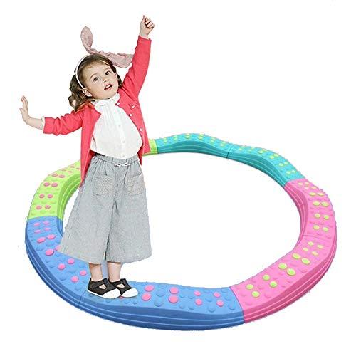 Golvende cirkel Evenwichtsbalken Stepping Stones, sterkte kindveilige rubberen bodem, in elkaar grijpende borden voor kinderen bevorderen coördinatie, balans