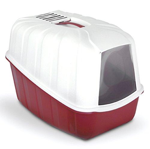 MPS Katzentoilette mit Haube und Aktivkohlefilter 54x39x40cm, (Rot)