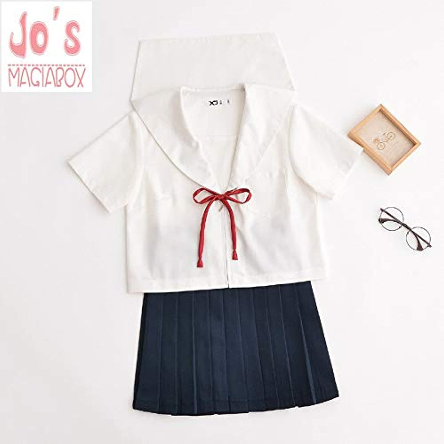 WHFDBZQ Student School Uniform Style Sailor Suit Bow Crew Neck Women Tops and Young Girl Solid Mini Pleated Skirts