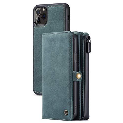 KCGNBQING Funda de billetera Compatible con iPhone 12PRO MAX, desmontable 2 en 1 Cubierta de cartera de cuero magnética con soporte de tarjeta, caja de teléfono multifunción para iPhone 12pro Max, Púr