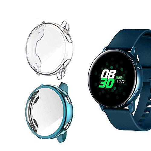 Jvchengxi Funda Protectora para Galaxy Watch Active, Cubierta Protectora de Marco a los rasguños TPU Protector de Pantalla de Cobertura Total para Galaxy Watch Active 40mm (Azul/Transparente)