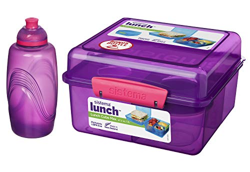 Lunchbox MAX Cube - 2 l + Joghurtbehälter - 150 ml + Wasserflasche - 385 ml Violett