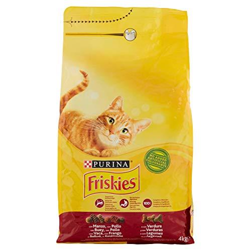 Friskies Erwachsene Kroketten für die Katze, mit Rindfleisch, Huhn und Gemüse, 4 kg