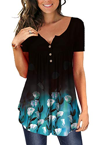 Cyiozlir Damen T Shirt Sommer Tunika Blumen Rundhals Kurzarm Lose Tops mit Knopfleiste Plissiert Bluse Casual Oberteil (D_Schwarz,Blaue Blume,Medium