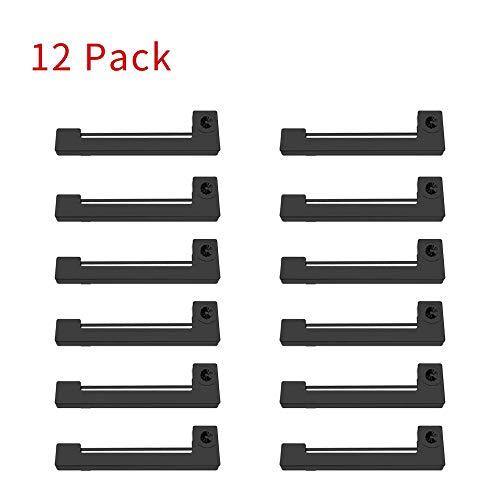 Bigger - Pack de 12 cartuchos de cinta de repuesto para impresora Epson ERC-09B compatible con EPSON ERC-09, DT6000, ER-700, FE-700
