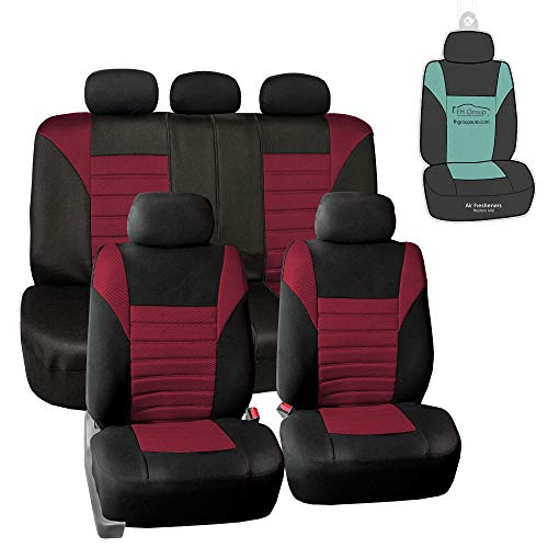 FH Group Premium 3D Air Mesh Seat Covers (Burgundy) Full Set with Gift- Universal Fit for Cars Trucks and SUVs
