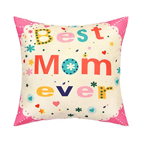 BLEUM CADE Throw Pillow Cover Best Mom Ever Pillow Cover Happy Mother 's Day Decorative Cushion Cover for Mother 's Day Home Sofa Office Car