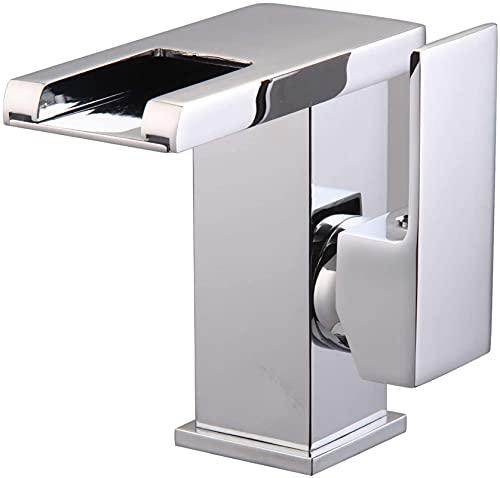 WOUTE Grifo de baño 3-color temperatura sensible gradiente luz LED baño cuenca cascada grifo cuadrado cascada conjunto