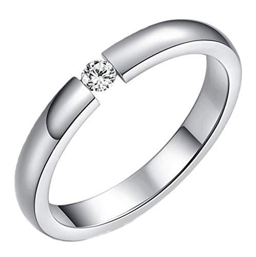 Anyeda Paar Ringe aus Edelstahl für Frauen Damen Ringe Cz Klassische Verlobungsbänder Weiß Versprechen 3 Mm Ringgröße 52 (16.6)