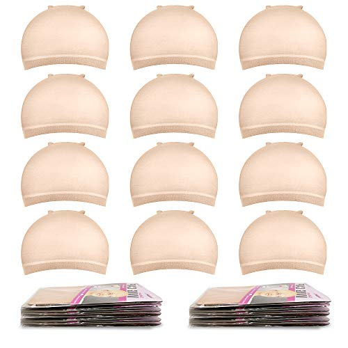 Wig Caps,MORGLES 20pcs Nude Wig Caps Beige Stocking Caps for Wigs Stretchy Nylon Wig Caps for Women