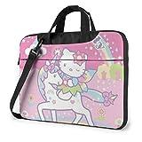 Fantasy Hello Kitty con bolsa para ordenador portátil Unicornio Maletín Busin para hombre mujer Bolsa de transporte para funda para portátil de hombro Menger - 15,6 pulgadas