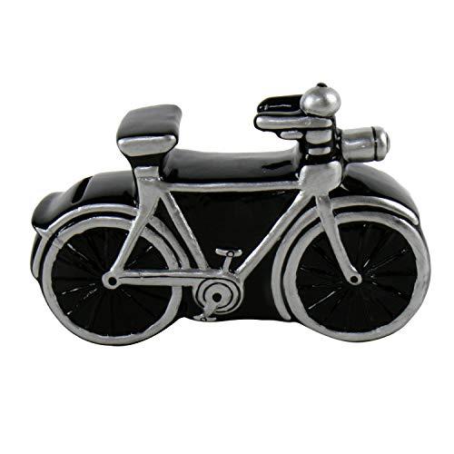 Roomando Spardose Fahrrad schwarz/Silber Keramik