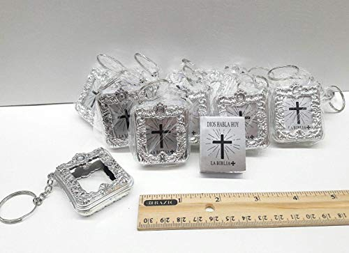 12 x Mini Bible Keychain English Spanish Gold Silver Holy Bible Religious Favor/Baptism Favor/First Communions, Baptism, Wedding Shower (English Silver)