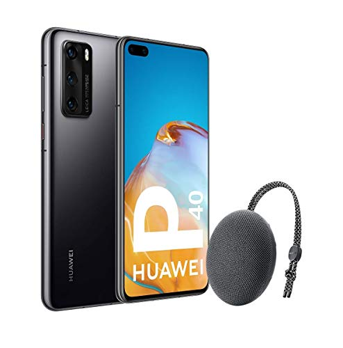 Huawei P40 5G - Smartphone de 6,1' OLED (8GB RAM + 128GB ROM, 3x Cámaras Leica (50+16+8MP), chip Kirin 990 5G, 3800 mAh, EMUI 10 HMS) Negro + altavoz CM51 [Versión ES/PT]