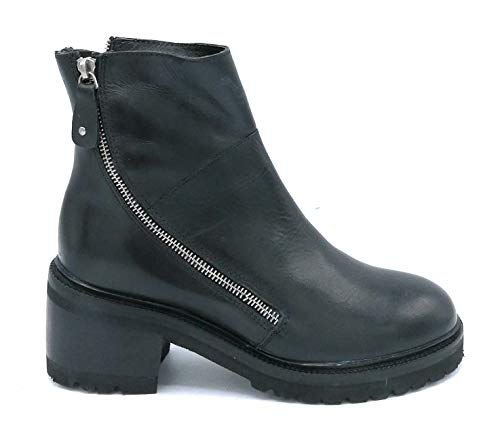 Hadel 1TR042 laarzen van zwart leer, dubbele ritssluiting, hakbreedte: 6 cm, schoenmaat: 39, kleur: zwart