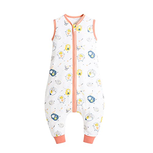 Taotigzu Saco de dormir 100% algodón, 0,5 tog con pies, sin mangas, saco de dormir para bebé, unisex, para bebé y niño pequeño (ovejas, XL)