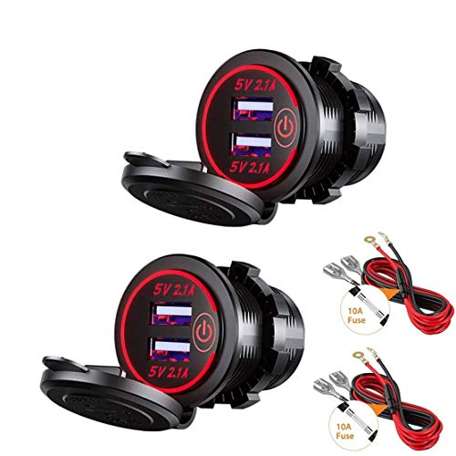Thlevel 2X Auto USB Ladegerät KFZ USB Steckdose 5V 4.2A Schnellladung mit LED Anzeige, wasserdichte und Staubdicht, für 12V~24V Fahrzeuge KFZ Boot Motorrad SUV Bus LKW Wohnwagen Marine (Rot)