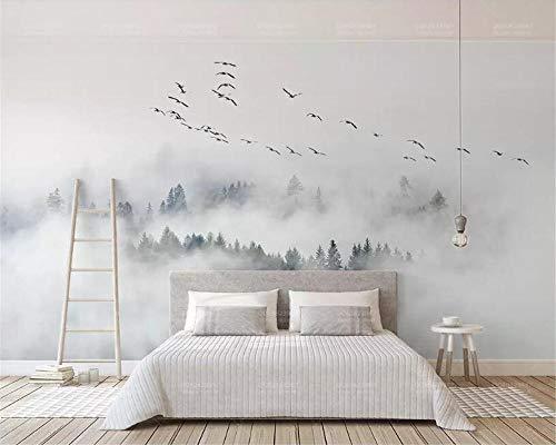 OTXA Individuelles Hintergrundbild Fototapete Bird Pine Forest Clouds-Hintergrundbild 3D Wallpaper Papier Peint-300 * 210