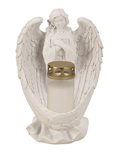 Grabschmuck Engel 28 cm inkl Grablicht in Weiss 12 cm mit goldenem Deckel Grabdekoration
