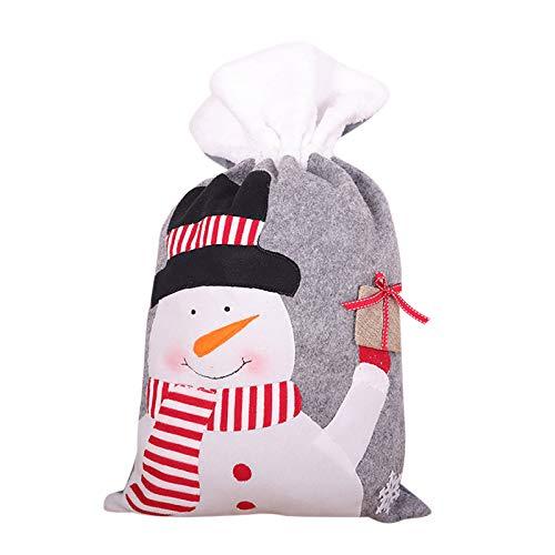 BBQQ Christmas Drawstring Gift Bags Santa Snowman Elk Plush Candy Storage Bag