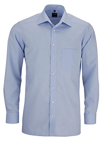 Herren Hemd Modern Fit Langarm, hellblau, XL (44)