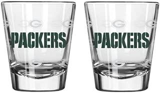 NFL Football Team Logo Satin Etch 2 oz. Shot Glasses   Collectible Shooter Glasses - Set of 2