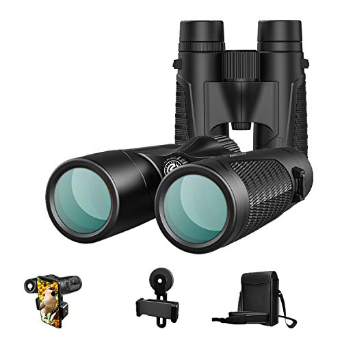 Artilection 12x42 Binoculars for Adults Waterproof IPX7, Professional Compact HD Binoculars for Bird Watching, Hunting, Travel, Sightseeing, Star Gazing and Concerts with BAK4 Prism FMC Lens