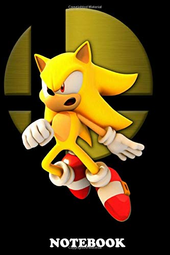 """Notebook: Super Sonic From Sonic The Hedgehog , Journal for Writing, College Ruled Size 6"""" x 9"""", 110 Pages"""