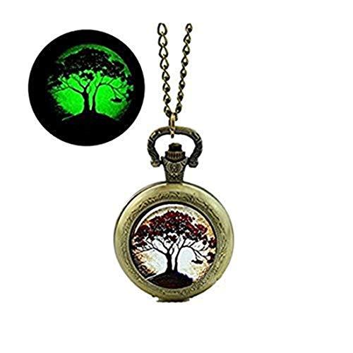 Arbre lumineux montre de poche collier arbre de vie bijoux lumineux montre de poche collier