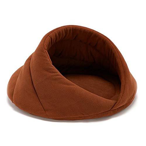 WHEEJE Cachorro Mascota Gato Perro Suave Nido cálido Kennel Cama Cueva casa Dormir Bolsa tapete Carpa Mascotas Invierno cálido Acogedor Cama Suave Suave (Color : Camel, Size : M)