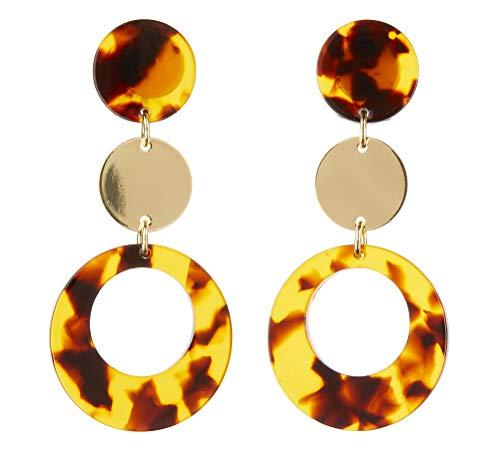 Ohrclips - vergoldet Ohrring mit brauner Schildpatt Acryl - Edris B von Bello London