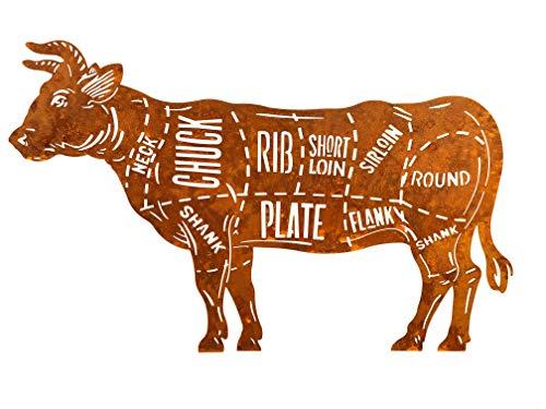 Feinwerk   Schild Beef Cuts   Edelrost   50cm x 34cm   Wanddekoration Rost Wandschild