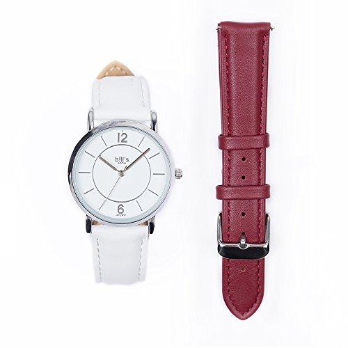 Bill's Watches dameshorloge leer luxe trend leer set armband aquamarijn Tan bandje Wit Rood