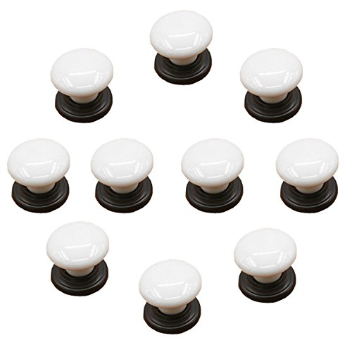 FBSHOP(TM) Set van 10 witte porselein keramische lade knoppen keuken handgrepen Pull zink keramische deur kasten keuken kast dressoir deurknop hardware Style C