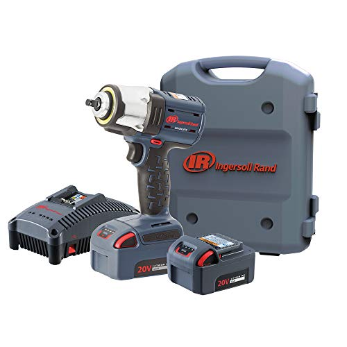 """Ingersoll Rand W5133-K22 3/8"""" IQV20 Cordless Air Impact Wrench and Battery Kit with Brushless Motor, 360 Degree LED Light, 365 ft-lbs Max Torque, 4 Power Modes, Gray"""