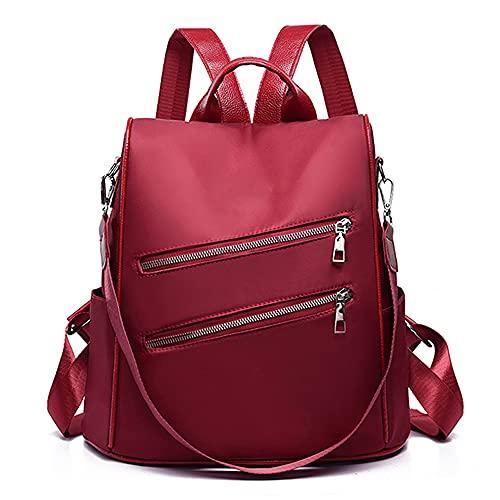 MIMITU Mochila para mujer, ligera, simple, multifunción, viaje, antirrobo, mochila, tela suave resistente al desgaste, negro, rojo, rojo, como se muestra