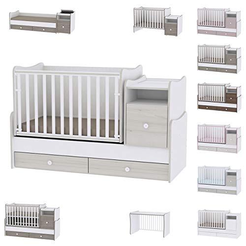 Lit bébé évolutif/combiné Trend Plus Chêne Clair Lorelli (Le lit se transforme en : lit dadolescent, bureau, armoire multi-fonction)