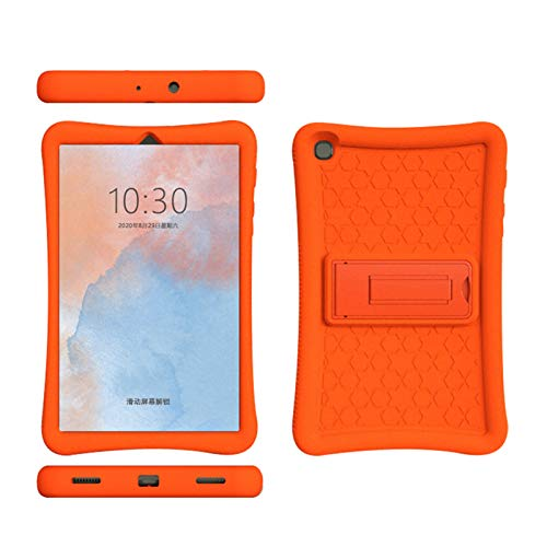 uscoreek Silicone Case for Samsung Galaxy Tab A 8.0 2019 (SM-T290 Wi-Fi, SM-T295 LTE),Slim Honey Comb Series Kids Friendly Light Weight Shock Proof Protective Cover with Built-in Kickstand (Orange)